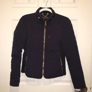 Navy with Brown Trim Zara Jacket